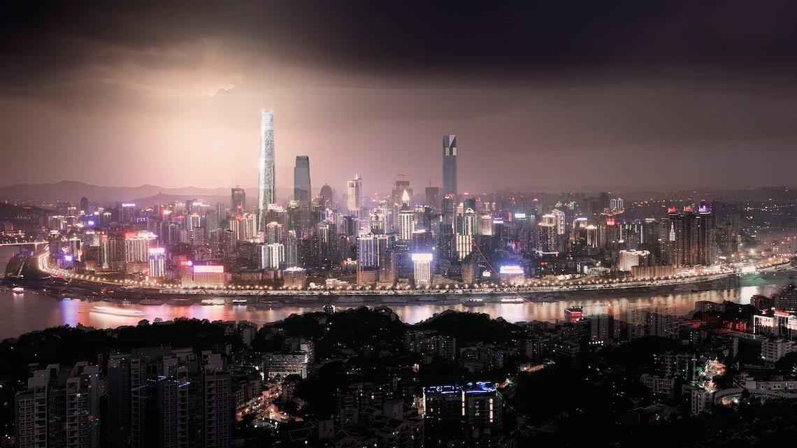 科幻夜晚城市马路素材