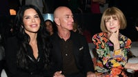 Amazon CEO Jeff Bezos and Vogue editor Anna Wintour attend Tom Ford's Autumn/Winter 2020 show on February 7, 2020 in Hollywood, California. Getty Images.