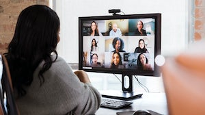 New employee meets colleagues over video call. Getty Images.