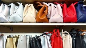 Luxury handbags in a store. Shutterstock