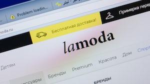 Lamoda website homepage. Shutterstock.