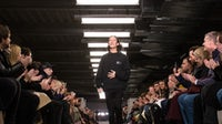 Alexander Wang takes a bow at his February 2018 runway show. Getty Images.