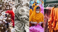 [Left to right:] Cotton farm in Xinjiang; rolls of fabric; garment worker in Bangladesh; clothes on a rack. Getty Images; Ethan Bodnar via Unsplash; Getty Images; Marcus Loke via Unsplash.