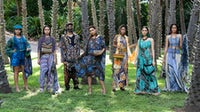 Models wearing the Yirradarringka-Langwa Akarwadiwada, Women's Work collection by Anindilyakwa Arts and assisted by designer Anna Reynolds, presented at Country to Couture 2020. George F Photography.