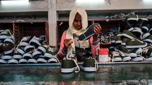 A worker at an assembly line at a shoe factory belonging to the Mohan Group in the area of Gelan, Ethiopia, in December 2019. Getty Images.