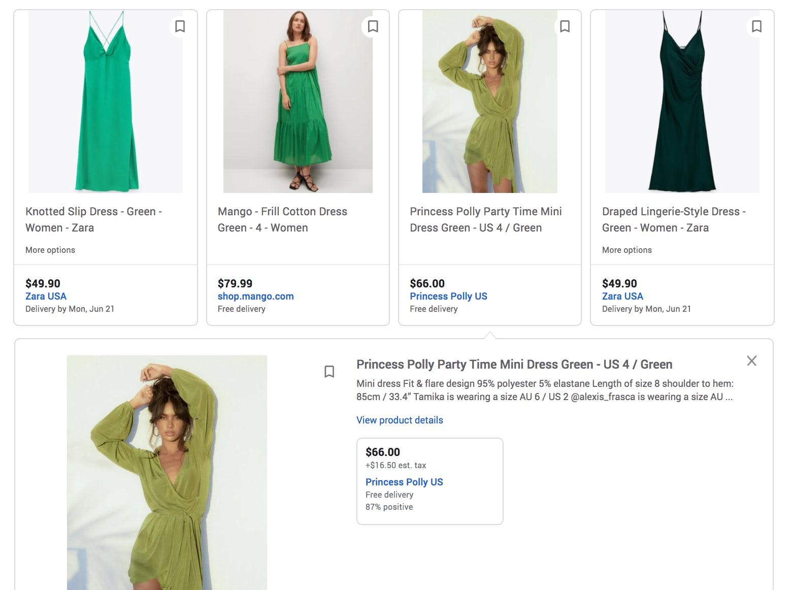 Screenshot of Google Shopping.