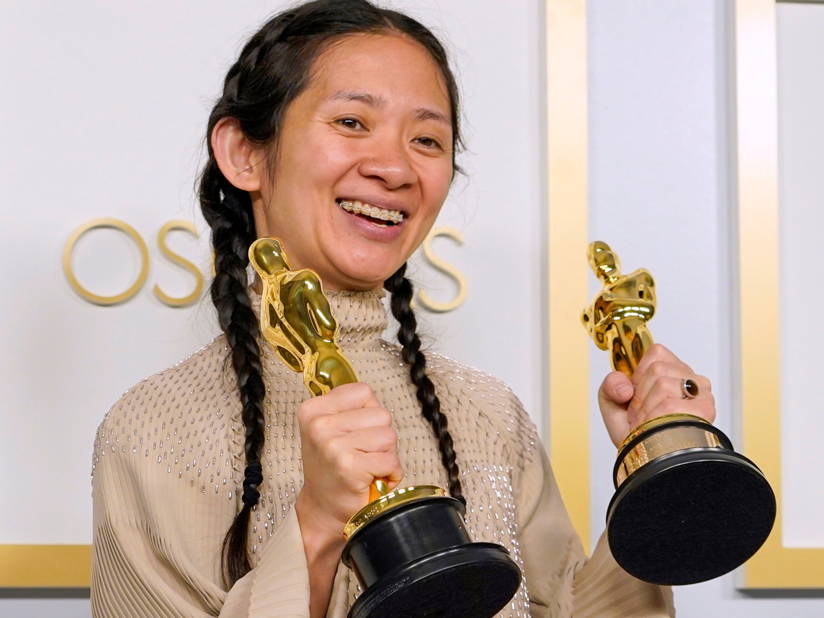 Chloe Zhao, winner of Best Directing and Best Picture for \