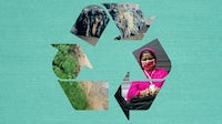 Deforestation, garments for recycling at Renewcell, a garment worker in Bangladesh. Collage by BoF.