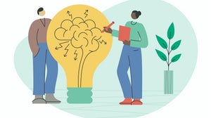 Illustration concept of two employees coming up with an idea. Getty Images.