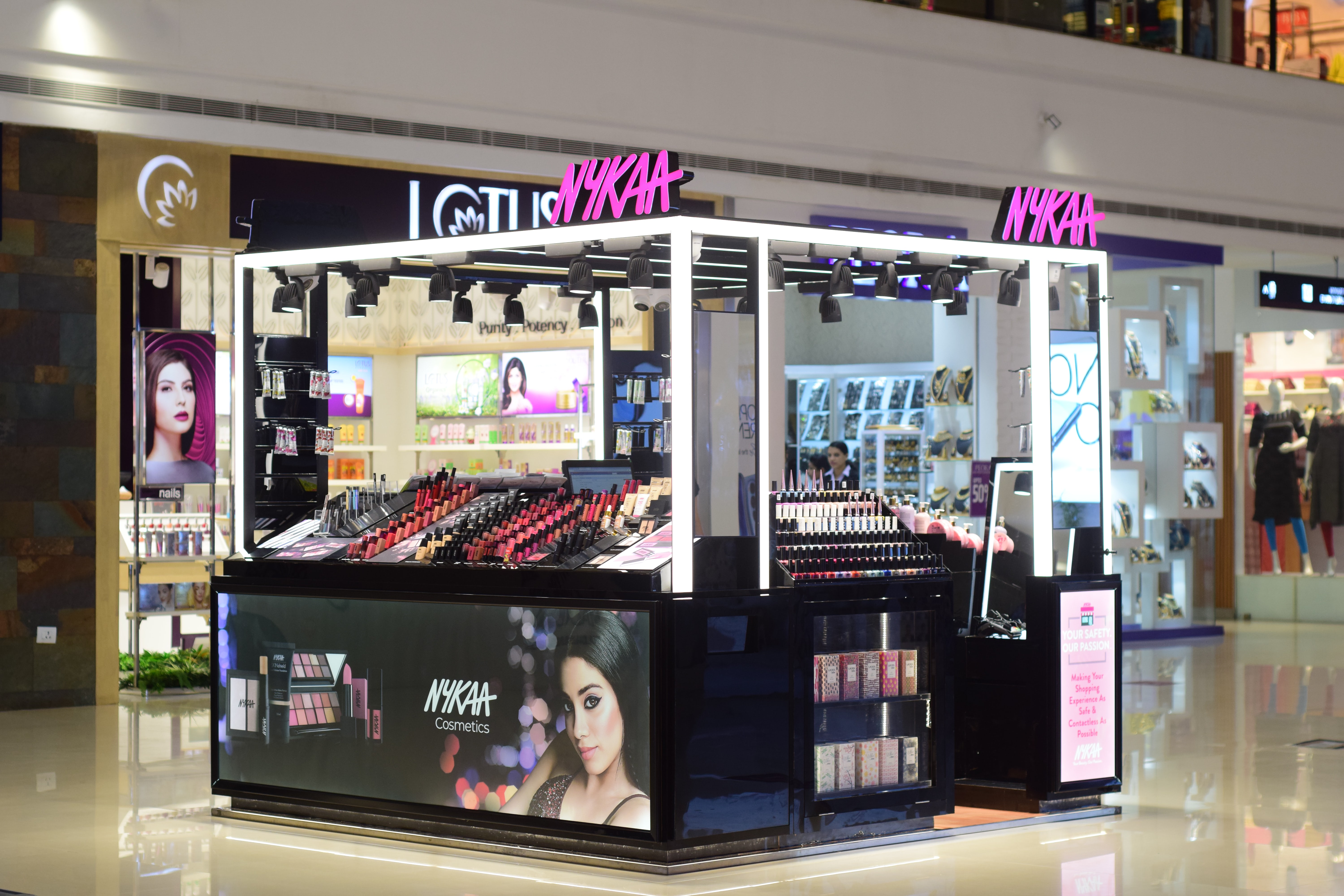 A Nykaa private label kiosk at the Mall of Travancore in Thiruvananthapuram, Kerala. Nykaa.