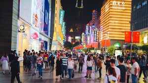 Busy shopping street in Shanghai, China. Shutterstock
