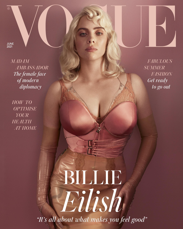 Billie Eilish\'s June 2021 British Vogue cover. British Vogue.
