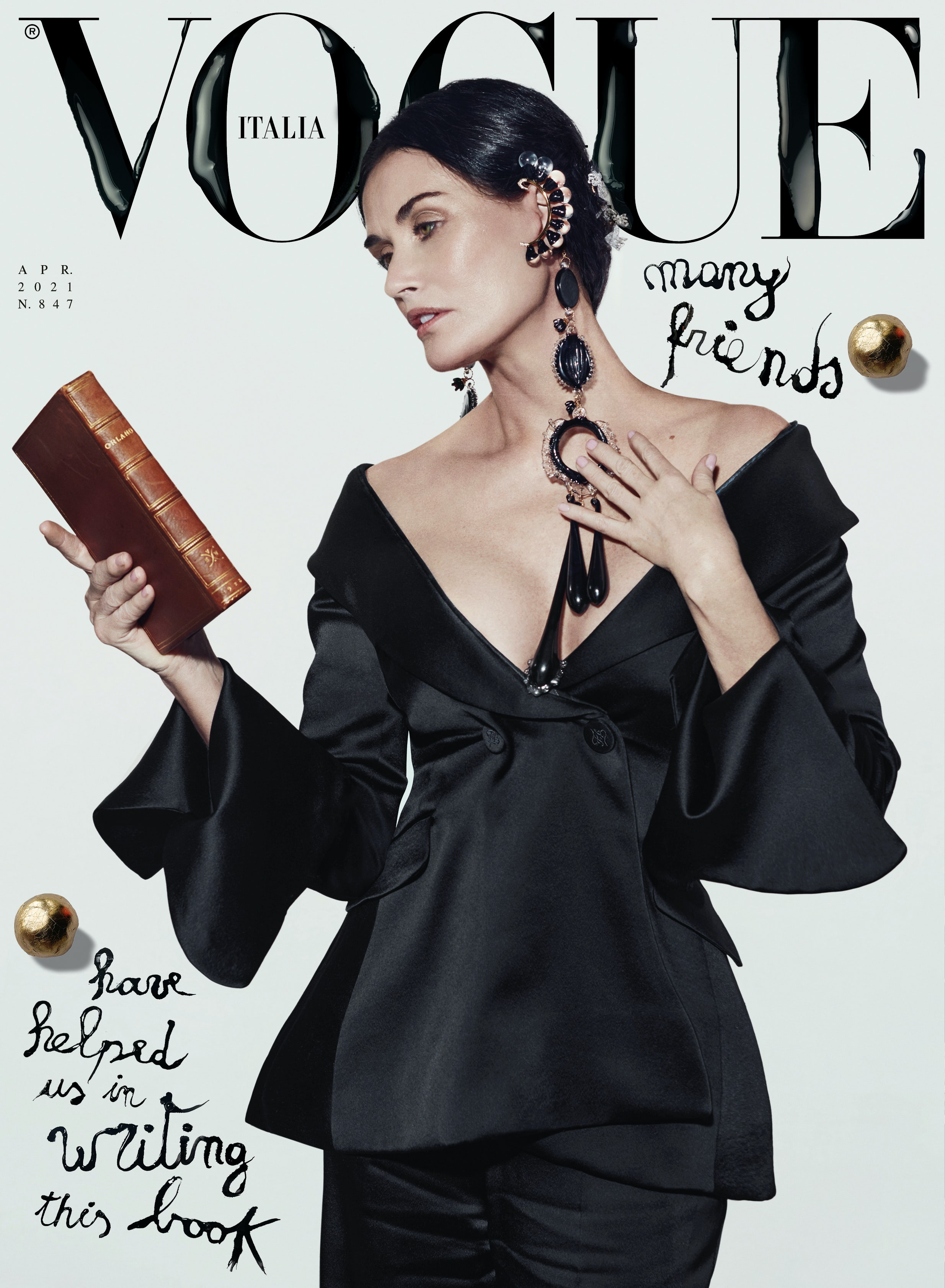Demi Moore wearing Fendi photographed by Brett Lloyd for the cover of the April 2021 issue of Vogue Italia, guest edited by Kim Jones. Vogue Italia.