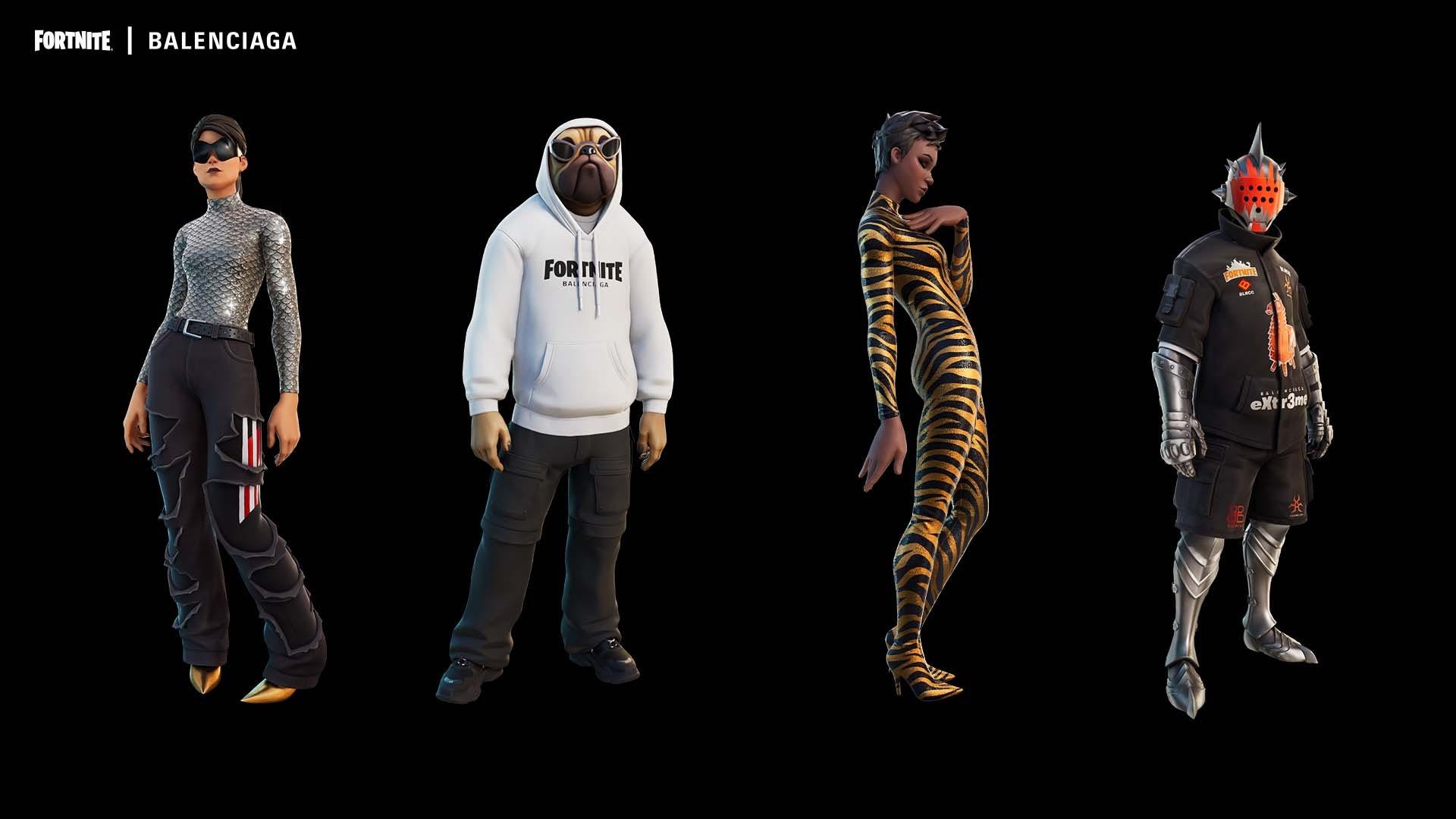 Fortnite characters Ramirez, Doggo, Banshee, and Knight in their Balenciaga outfits. Fortnite.