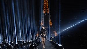Kaia Gerber walks the runway at the Saint Laurent Spring/Summer 2020 show. Getty.