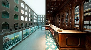 The store interiors of French fragrance company Officine Universelle Buly 1803. LVMH.