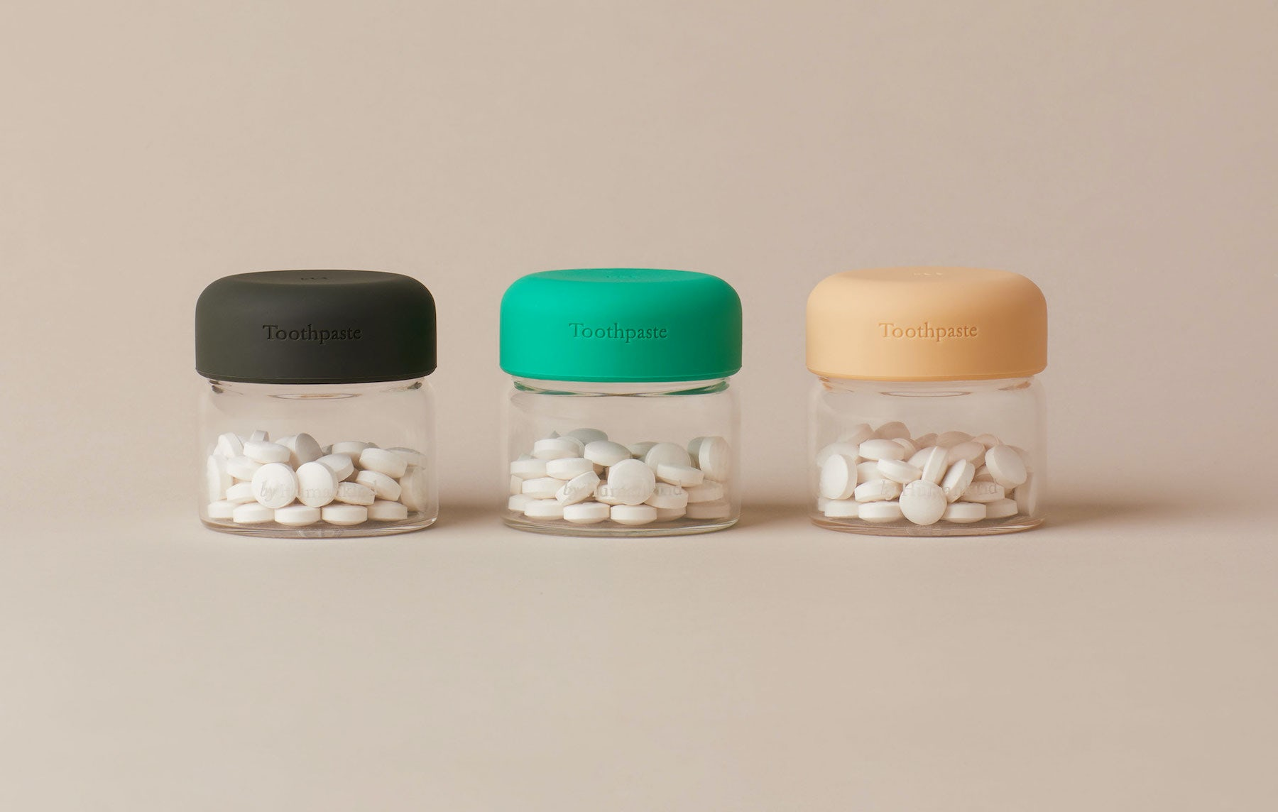 Toothpaste from the startup By Humankind comes in tablet form, and with reusable jars. By Humankind.
