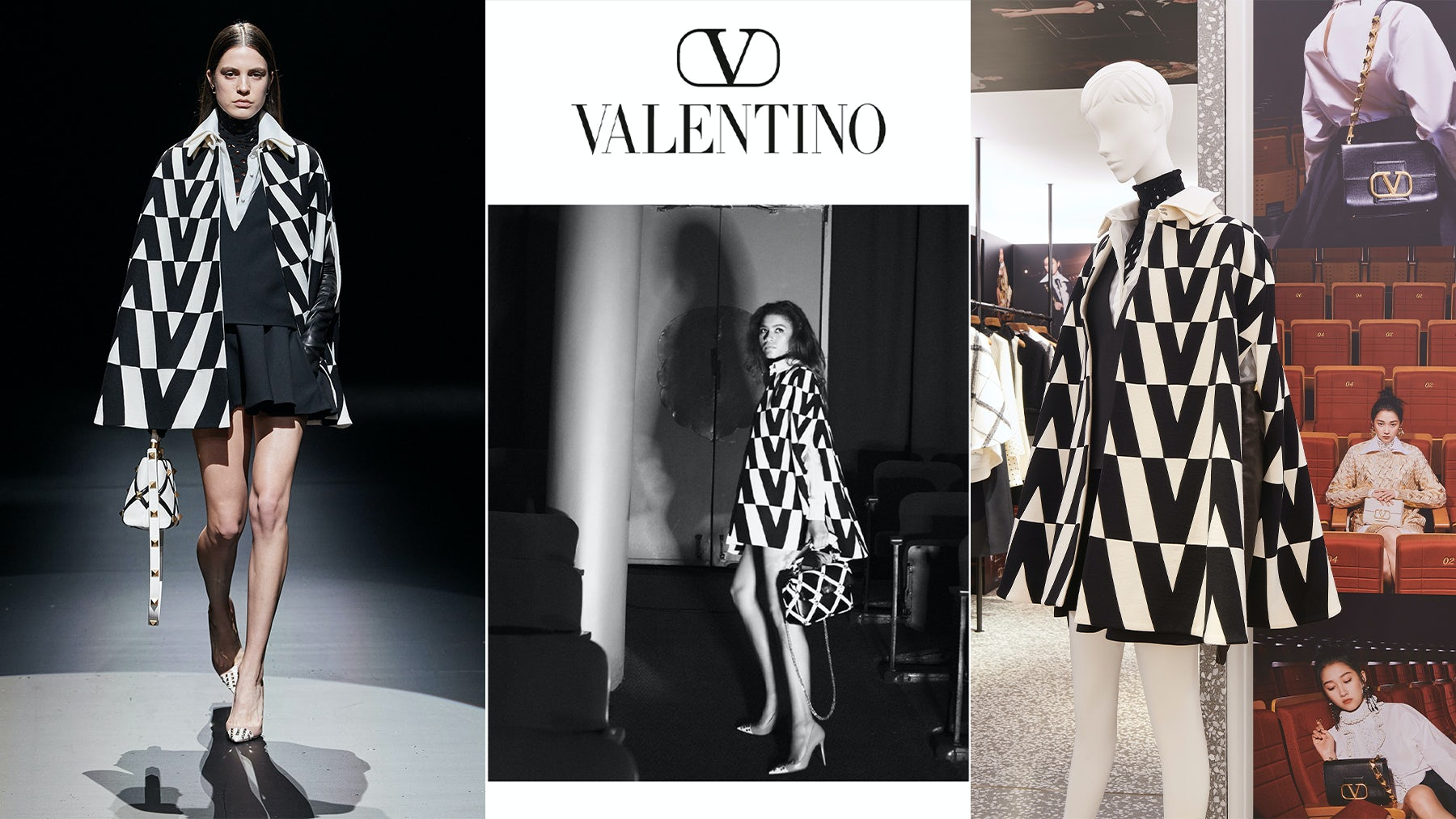 Valentino is working toward a more unified message by aligning its runway shows, campaigns, and merchandising. Left: Valentino\'s \