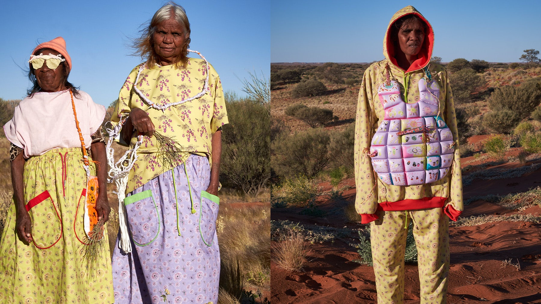 Kay Finn and Audrey Stewart wearing designs by Dunjiba Community Artists supported by Ku Arts; Melissa Stewart wearing designs by Dunjiba Community Artists supported by Ku Arts. Melanie Henderson.