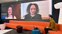 (L-R) Sinéad Burke, Samira Nasr and Imran Amed speak during VOICES 2020. Getty Images.