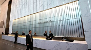 In the lobby of One World Trade Center, headquarters of Condé Nast