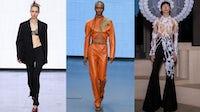 Spring/Summer 2022 looks from Nensi Dojaka, Supriya Lele and Harris Reed. Courtesy.