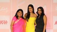 Left to Right - Falguni Nayar, Nykaa founder and CEO, with actress Katrina Kaif and Reena Chhabra, Nykaa Brands CEO. Nykaa.
