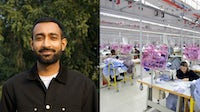 Anant Ahuja, head of organisational development, Shahi Exports; workers at a garment manufacturing factory. Shahi Exports; Shutterstock.