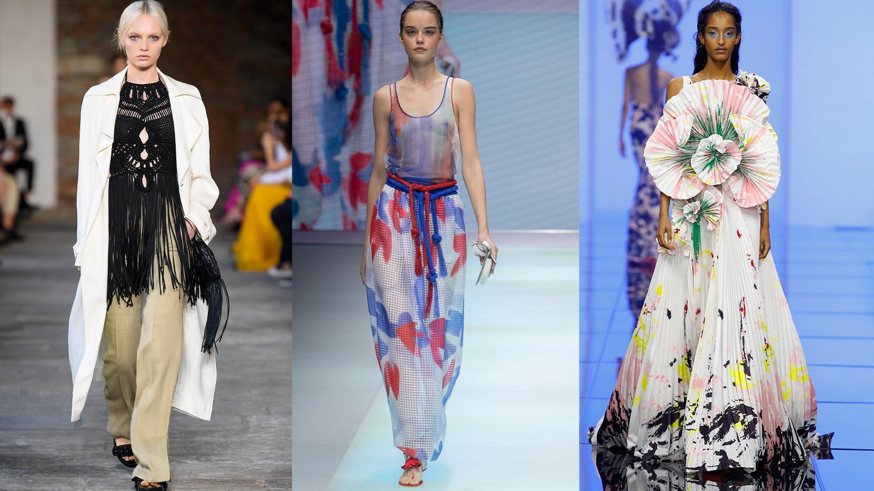 Spring/Summer 2022 looks from Alberta Ferretti, Emporio Armani and Del Core. Courtesy.