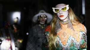 A model walks the runway in a look from Gucci's 2020 Cruise collection. Getty.