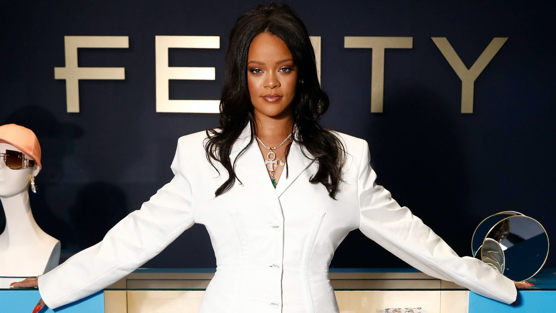 Rihanna hosts the Fenty Launch on May 22, 2019 in Paris. Getty Image.