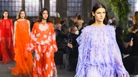 Valentino has been showing in Milan rather than Paris since the pandemic. Models walk the runway in looks from Pierpaolo Piccioli's Spring 2021 collection. Courtesy.