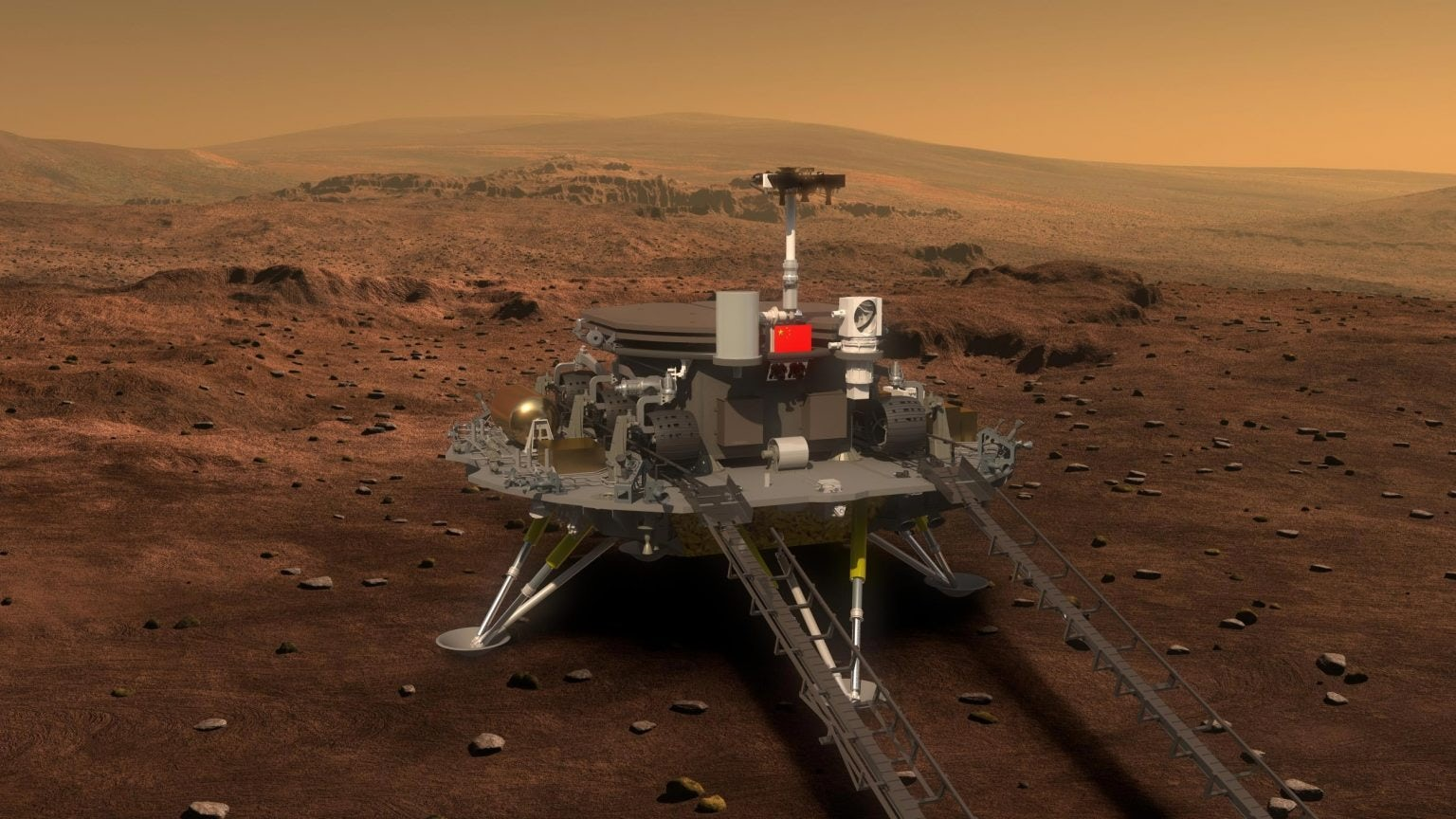 A rendering of the Zhurong rover. CNSA.