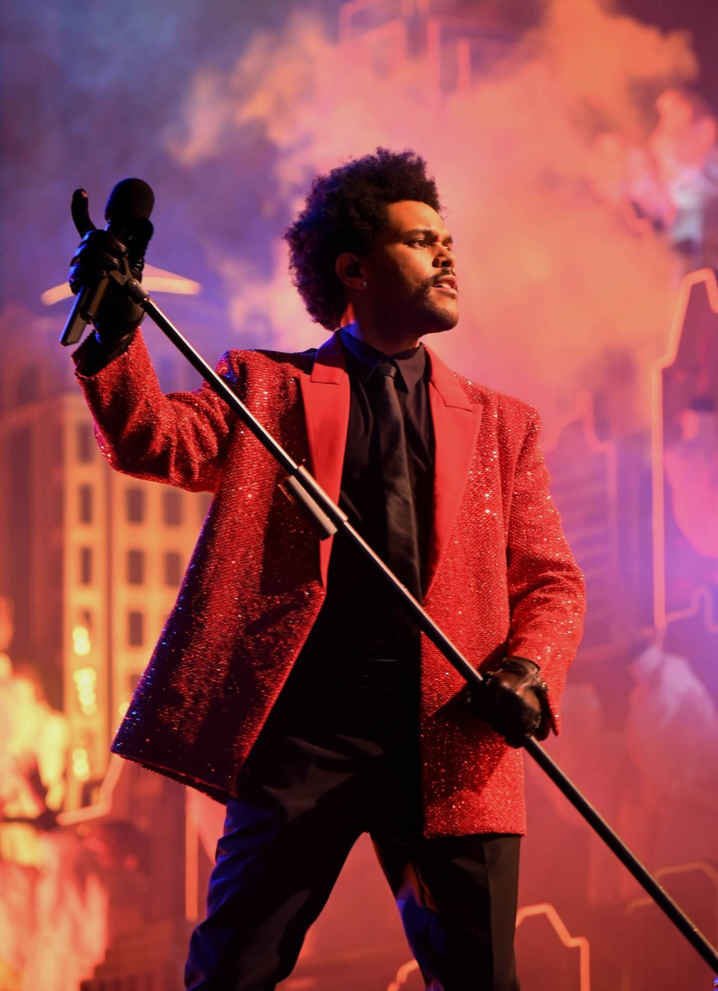 Abel Makkonen Tesfaye, known professionally as The Weeknd, wore custom Givenchy Haute Couture for the 2021 Super Bowl half-time performance | Source: Courtesy