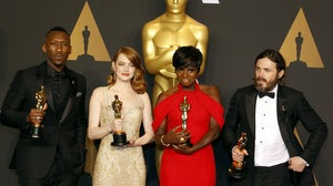 Oscar winners Mahershala Ali, Emma Stone, Viola Davis and Casey Affleck at the 89th Annual Academy Awards. Shutterstock.
