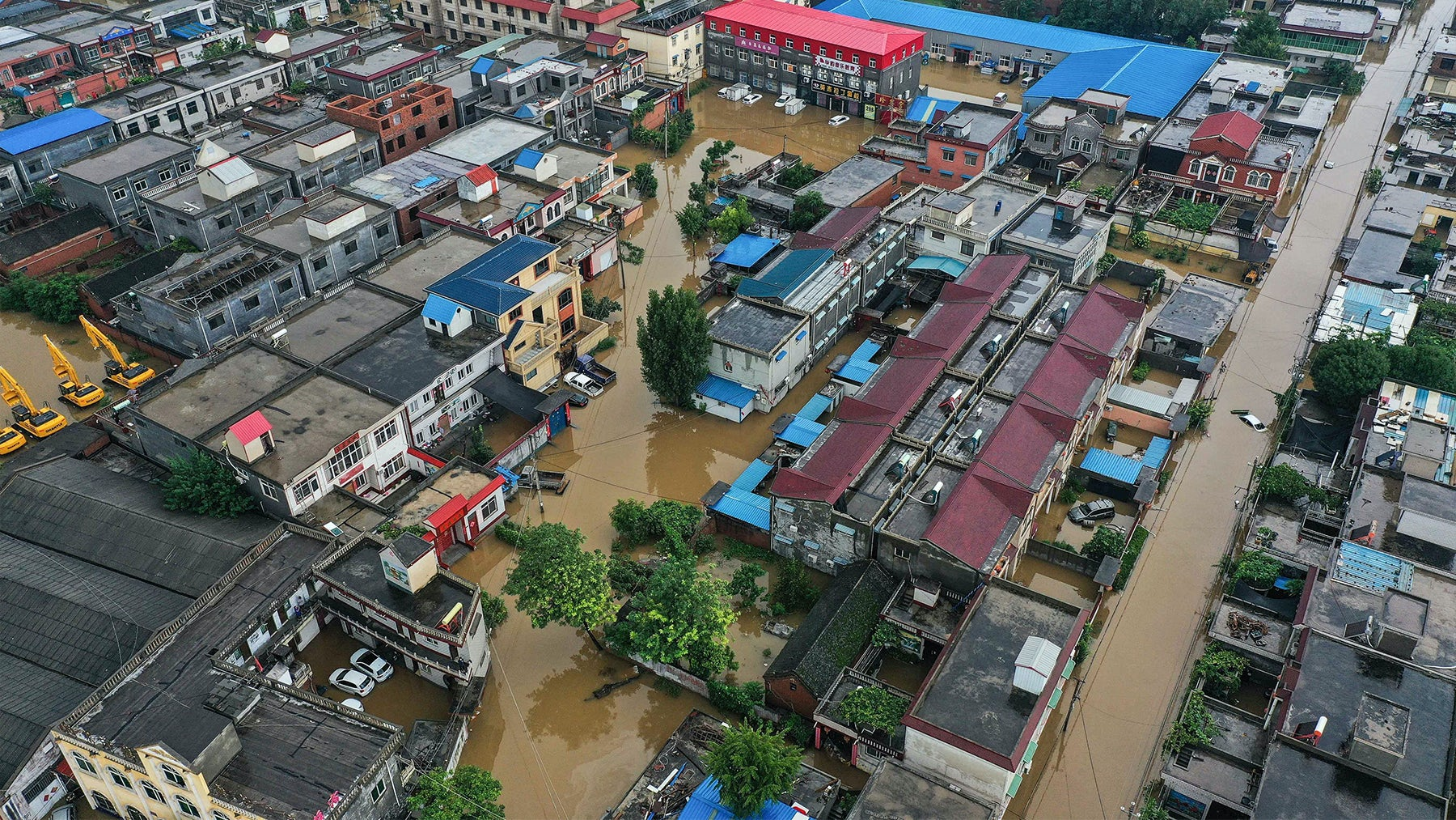 Flooded buildings in China\'s central Henan province. Getty Images.