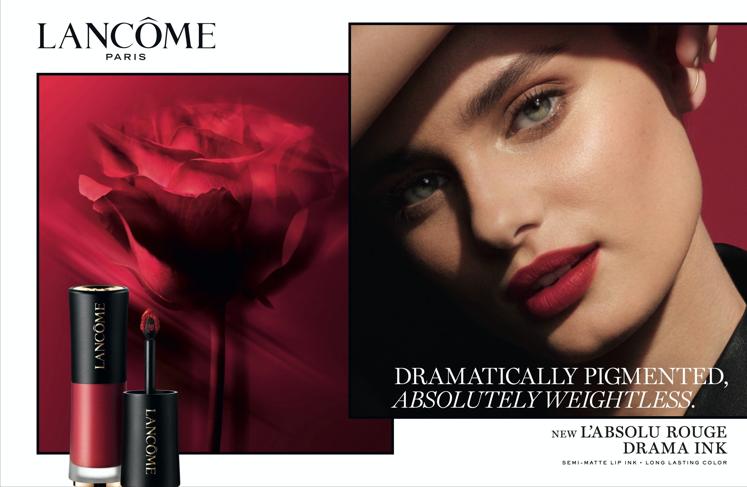 An ad Lancôme's for Drama Ink liquid lip colour, the launch of which was moved up ahead of the pandemic. Courtesy Lancôme