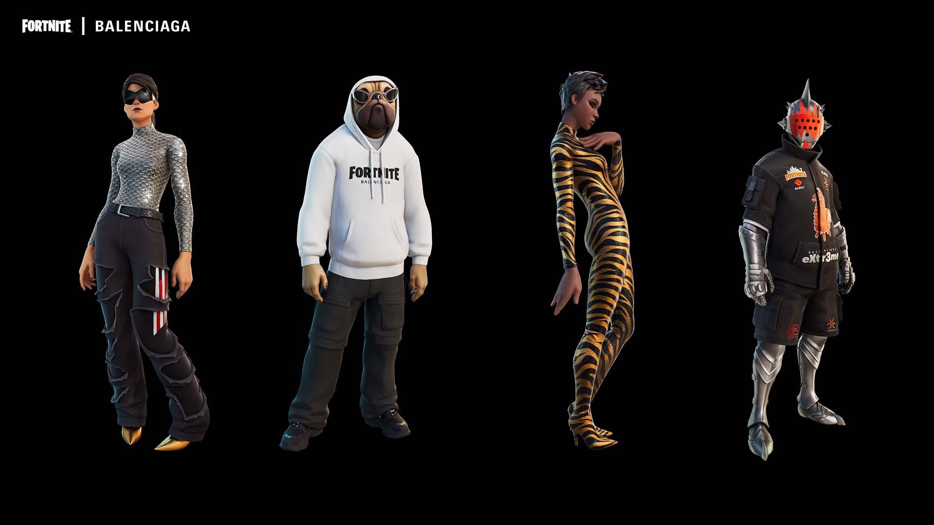 Skins from Balenciaga\'s Fortnite collaboration. Courtesy.