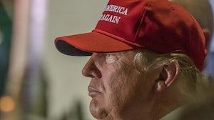 "Donald Trump wears a ""Make America Great Again"" hat | Source: Shutterstock"