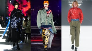 Looks from Undercover, Junya Watanabe and Mistergentleman's Fall/Winter 2021 collections. Evangelion (c)khara, Japan Fashion Week Organisation.