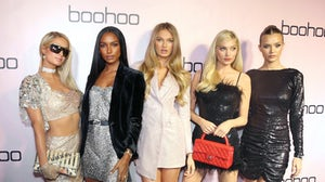 (L-R) Paris Hilton, Jasmine Tookes, Romee Strijd, Elsa Hosk, and Josephine Skriver attend Boohoo x All That Glitters Launch Party in Los Angeles in 2019. Getty