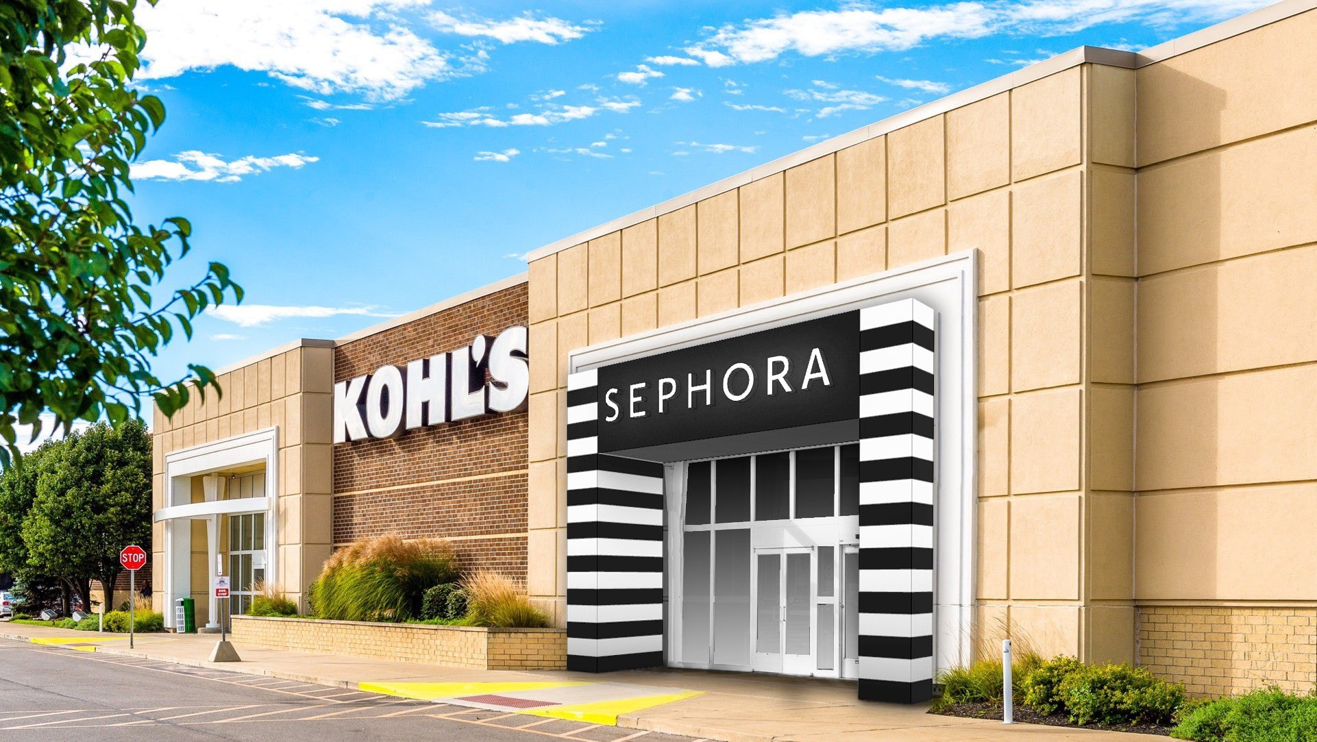 A rendering of a Kohl\'s store exterior featuring an entrance for its Sephora boutique. Courtesy Kohl\'s