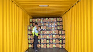 An employee of Amazon India checks products loaded in a truck before being despatched for delivery | Source: Getty Images