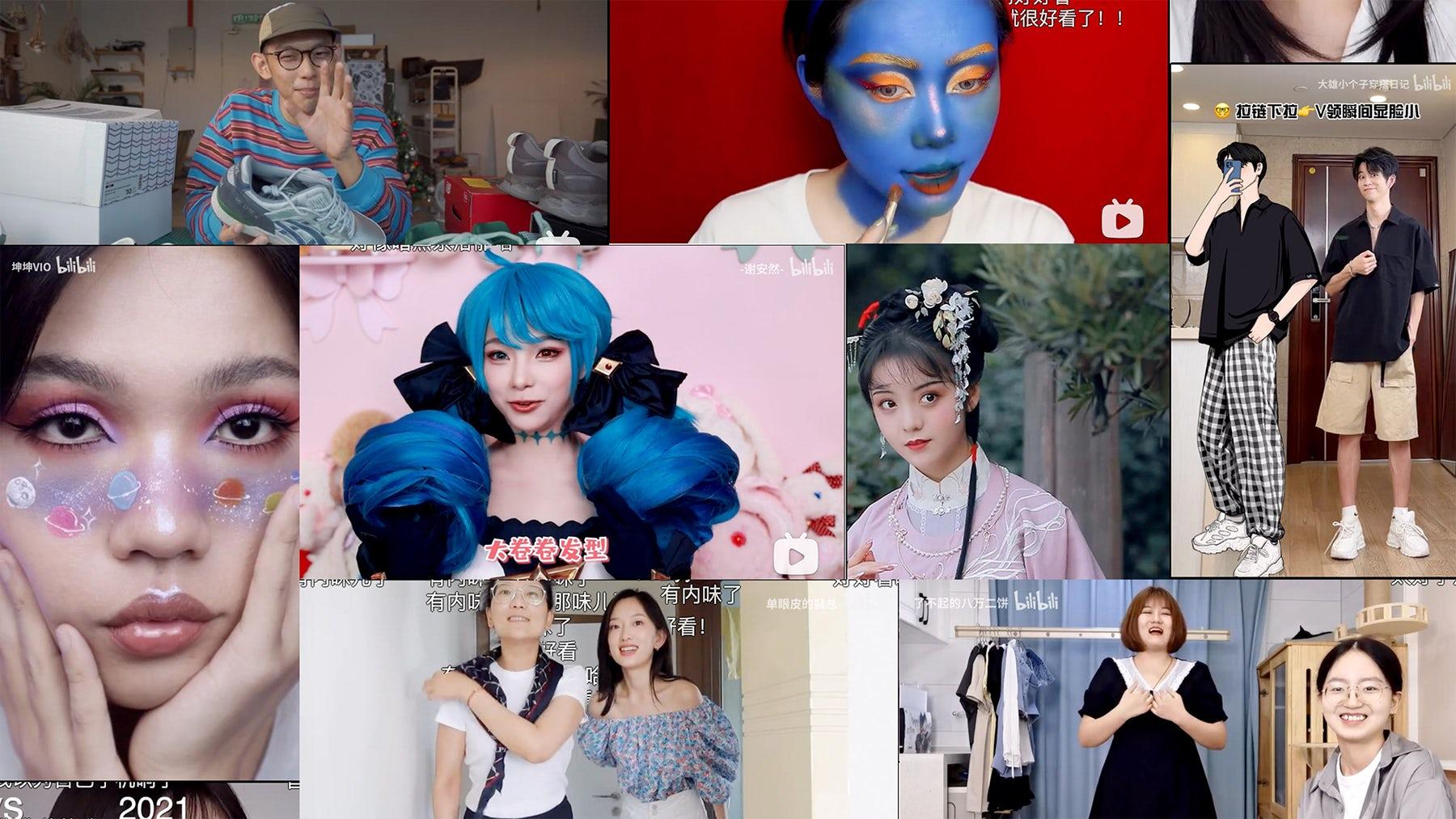 Collage of Bilibili users\' fashion and beauty videos. Bilibili.