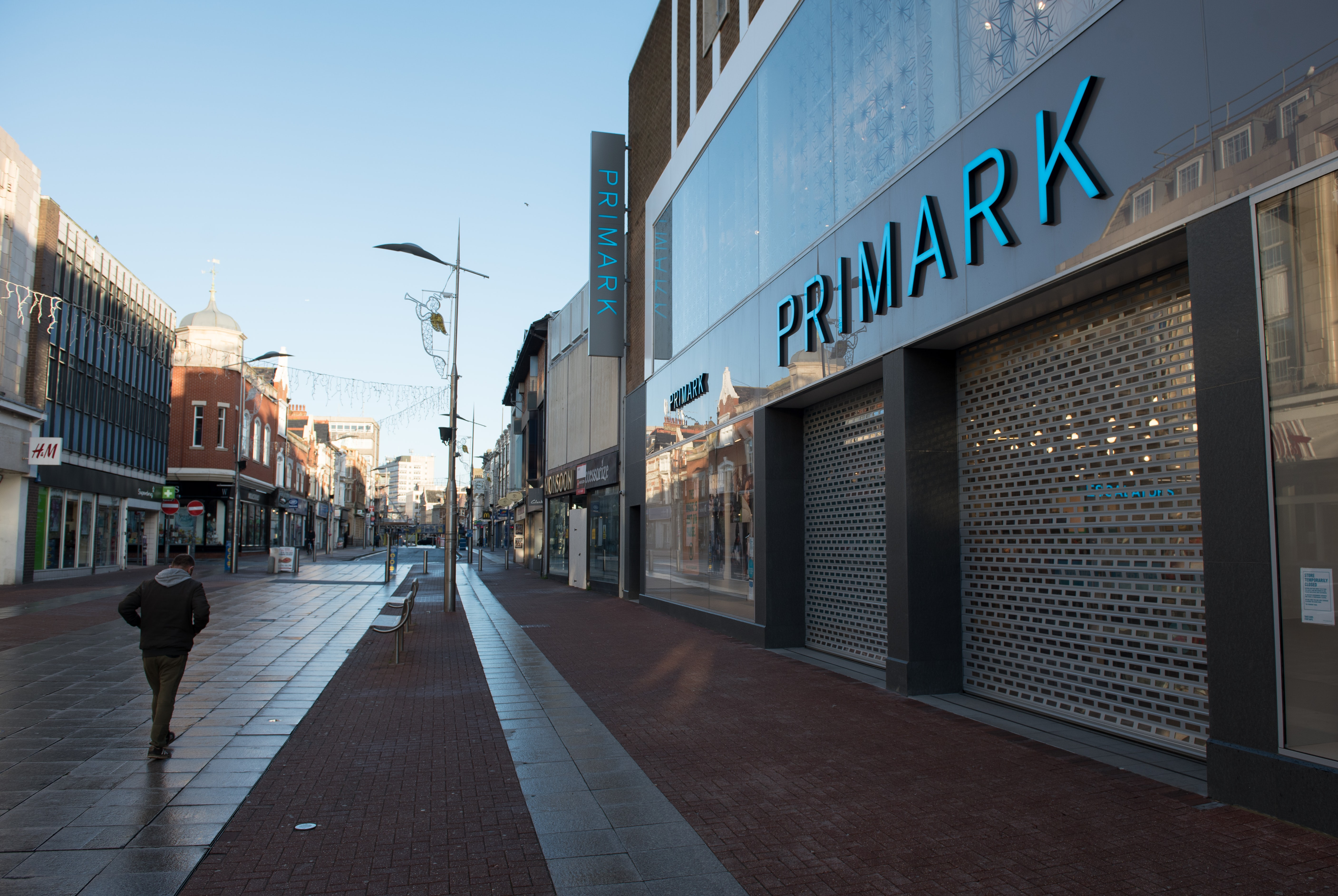 A Primark store on an empty high street in December 2020. Getty.