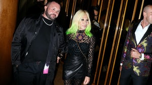 Kim Jones and Donatella Versace posed together at the Met Gala afterparty in 2019. Getty.