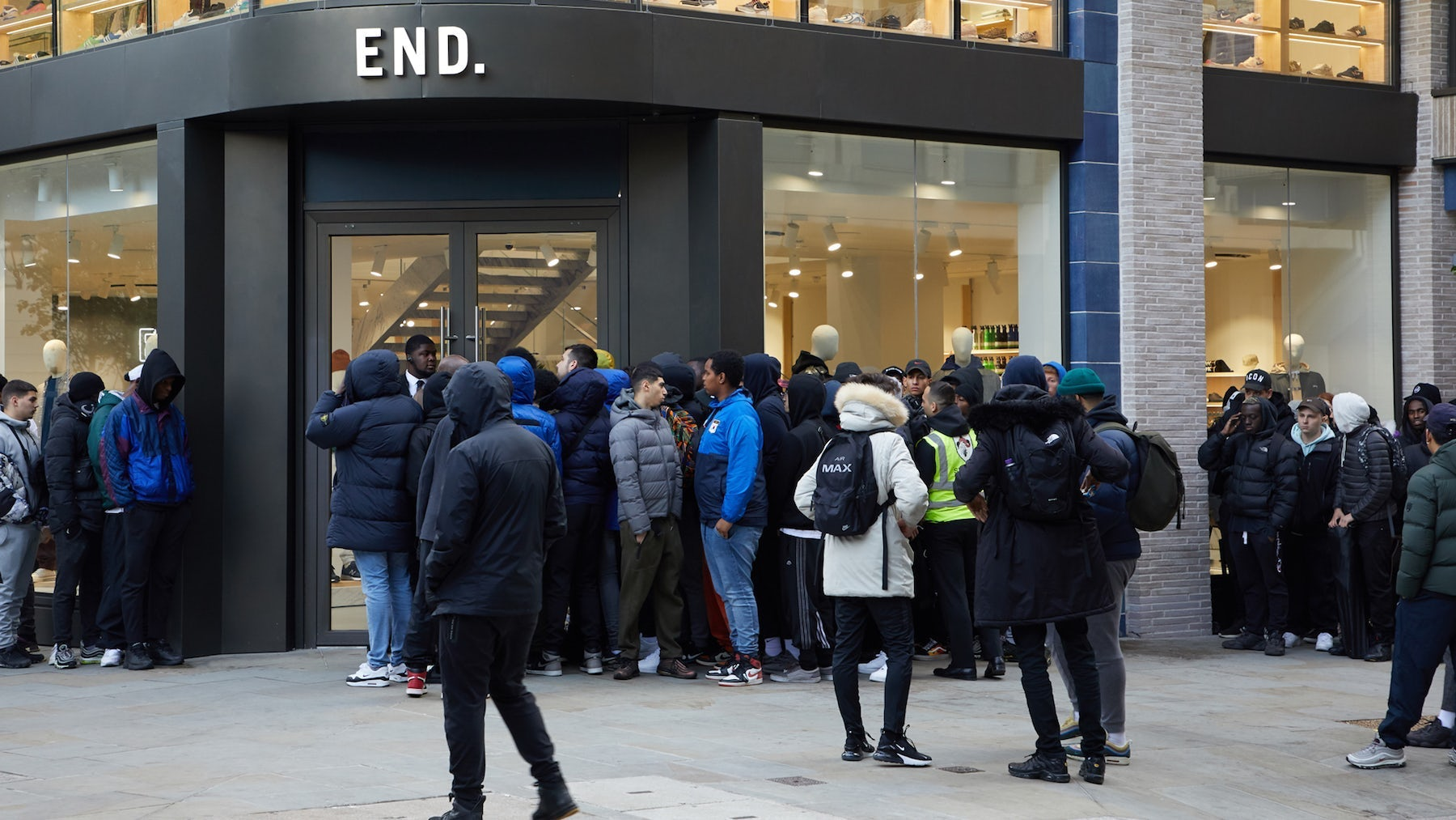 Line in front of End Clothing store in London. End.