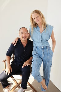 Derek Lam and Hannah Gaby, who starred in the first 10 Crosby ad campaign 10 years ago, at the shoot for the brand's soon-to-be launched denim line. Derek Lam 10 Crosby.