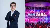 Mike Hu, Alibaba Group vice president and general manager of Tmall Luxury, Fashion and FMCG; Alibaba's final Double 11 sales tally. Alibaba; Getty Images.