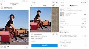 The Instagram Checkout process for Gray Matters.